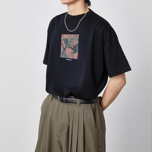 OPICLOTH/OPIC 数码花卉印花圆领纯棉复古日系宽松百搭短袖男t恤