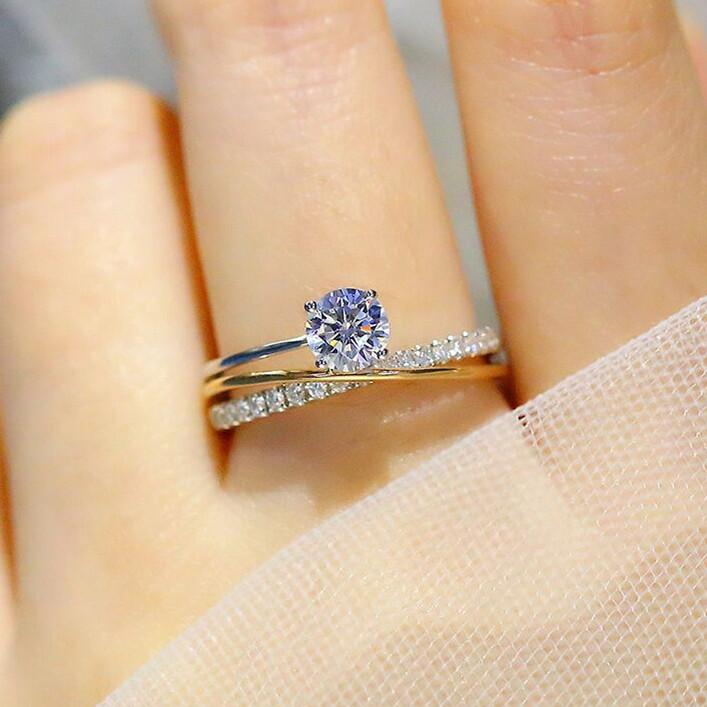 福大生ダイヤモンドの指輪の女性は50分VS H新作の結婚指輪の爪に18 Kの黄色のプラチナをはめ込みます。