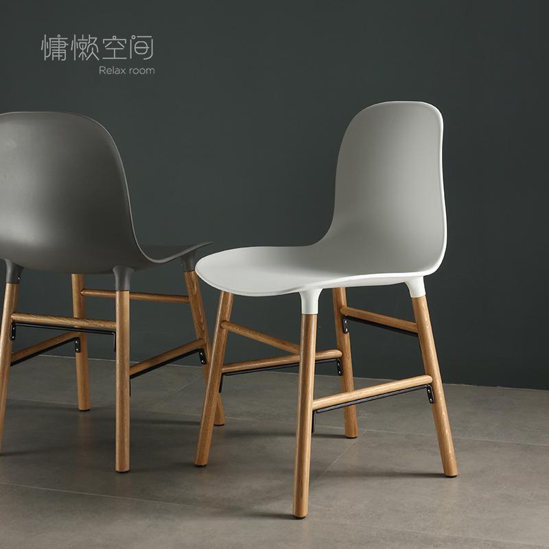 北欧风餐椅白色实木家用现代凳子单人靠背休闲书房简约ins风椅子