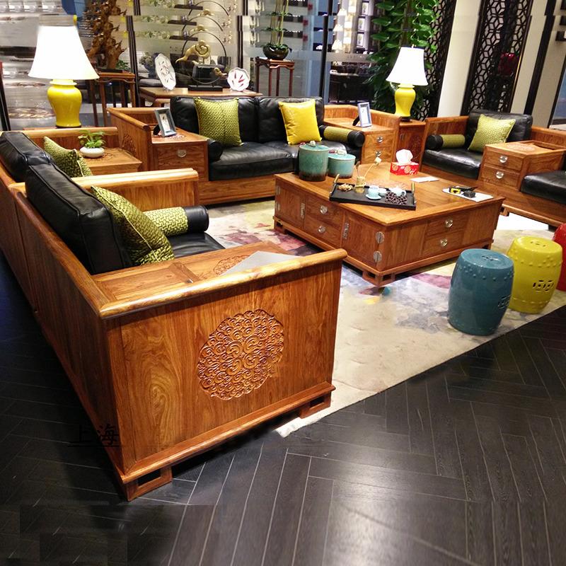 Modern new Chinese style Su Li furniture mahogany sofa all solid wood Kyocera hedgehog red sandalwood living room rosewood tea table