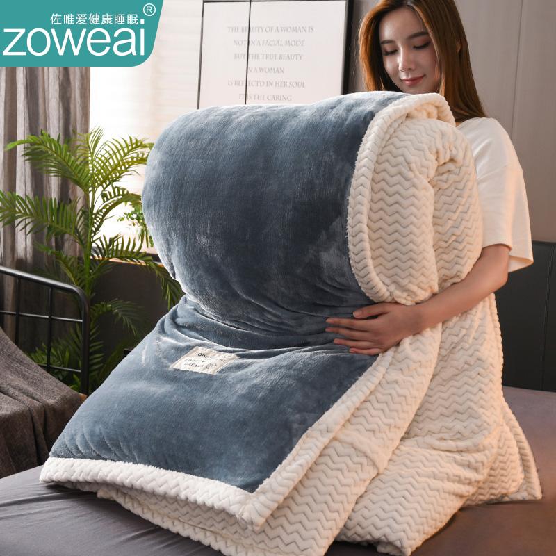 羊羔绒冬天被子冬被褥全套装法兰绒全棉被芯冬季单人加厚保暖10斤