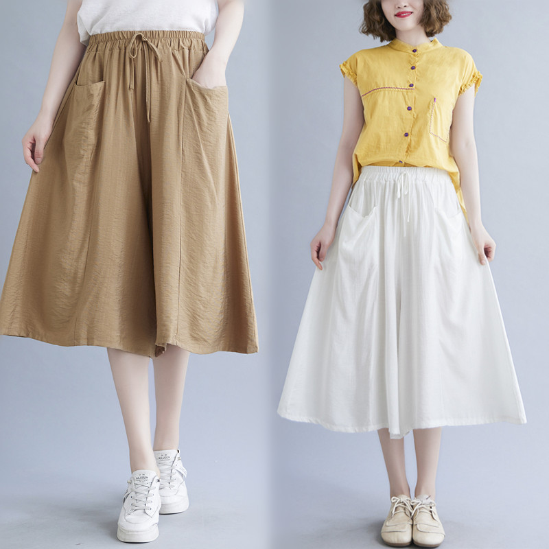 368 real shot spot summer literature and art big size wide leg pants solid color literature and art fat mm seven point knee length skirt pants loose female