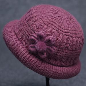 秋冬季中老年人兔毛妈妈冬天毛线帽