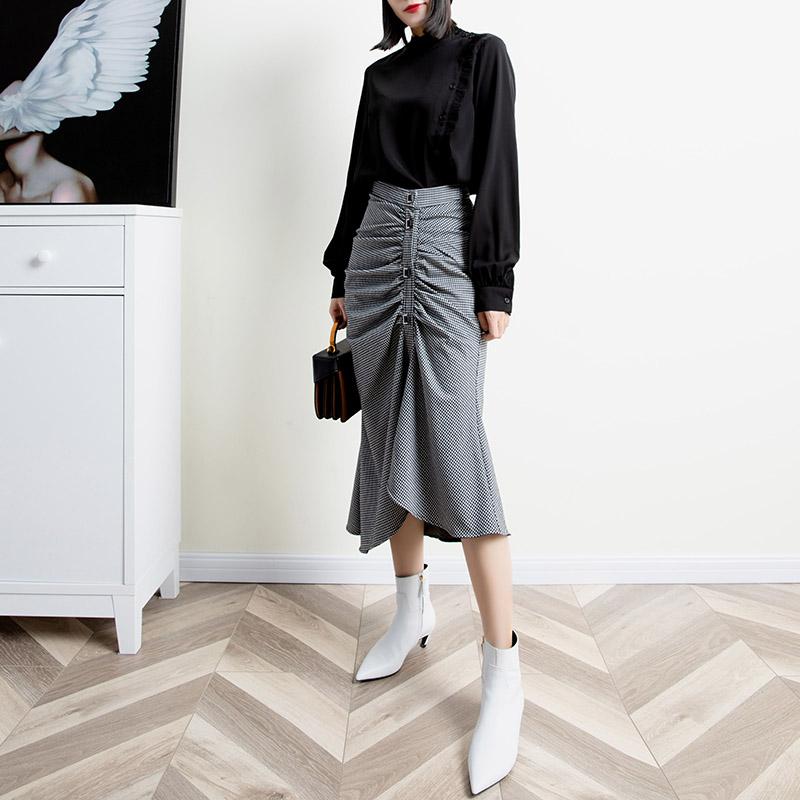 梦依格黑色衬衣女2020新款时尚长袖圆领百搭宽松上衣雪纺衬衫