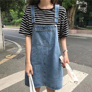 夏2019韩版新款大码胖mm牛仔背带裙显瘦a字ins半身裙女吊带短裙潮