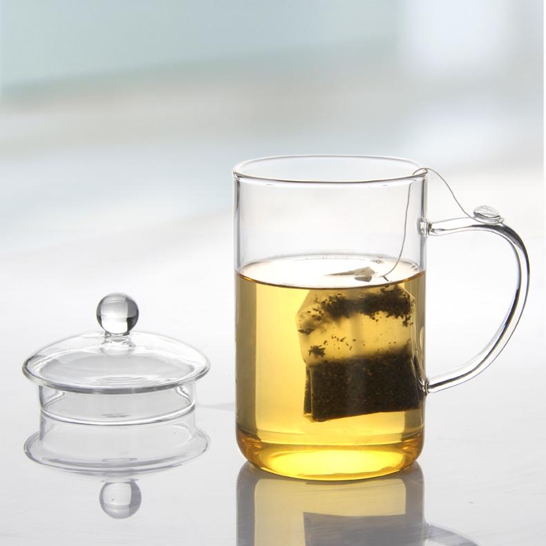大容量耐熱加厚玻璃杯 辦公室茶杯水杯花茶杯 帶蓋杯功夫茶具包郵