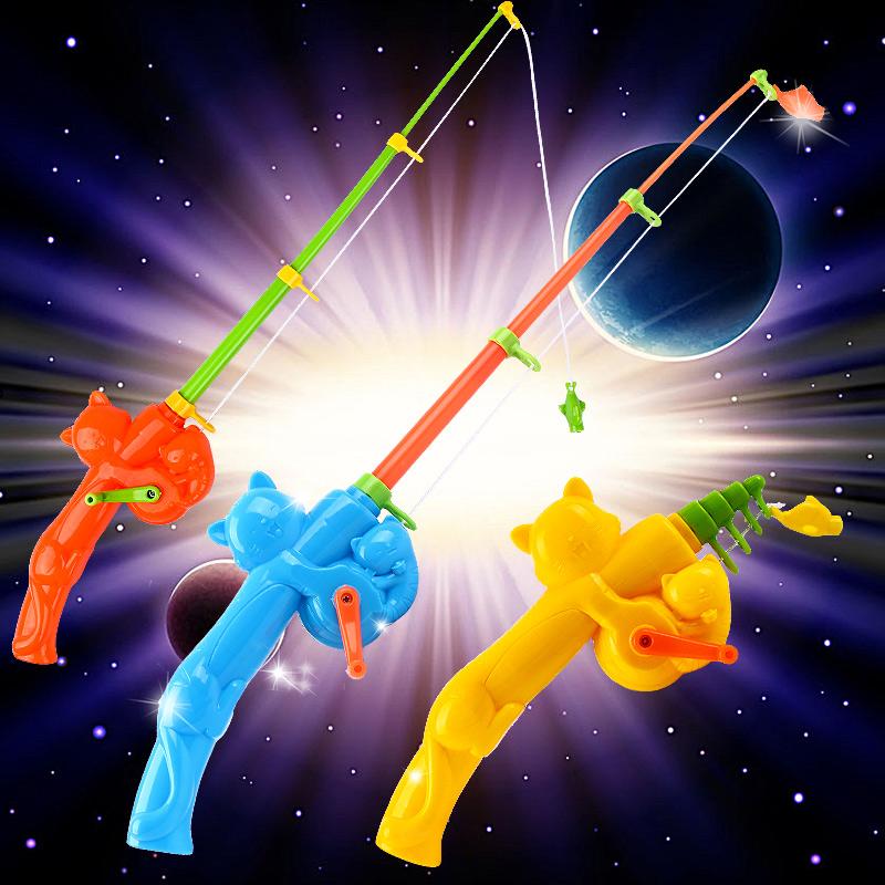 小猫钓鱼卡通儿童磁性钓鱼竿玩具 小孩磁铁钩鱼玩具钓竿小猫鱼竿