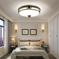 世冠 卧室灯吸顶灯圆形过道灯台阳灯具温馨浪漫LED房间全铜吸顶灯