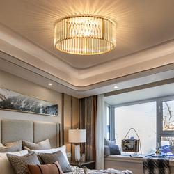 世冠 新款美式轻奢吸顶灯全铜书房卧室房间灯浪漫温馨圆形水晶灯