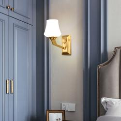世冠 创意全铜壁灯后现代简约卧室灯床头灯欧式客厅过道墙壁灯