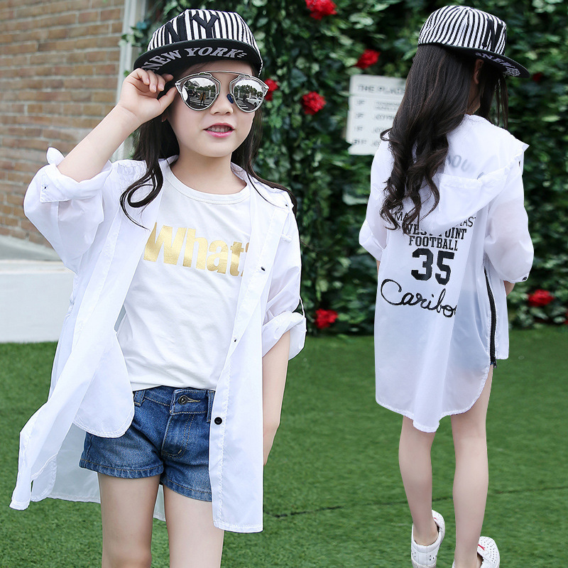 Girls sun proof clothes ultra thin and breathable summer new skin clothes