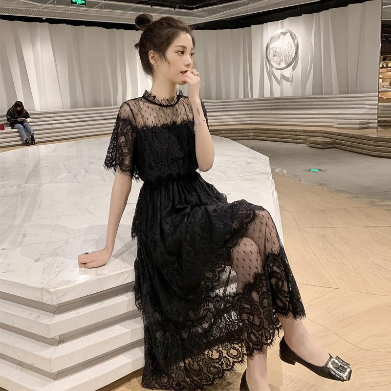 夏季2019新款网纱拼接收腰中长款蕾丝短袖连衣裙女温柔chic仙女裙图片