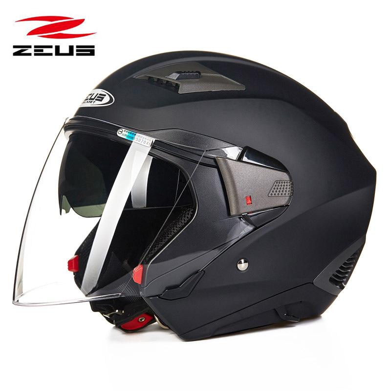 ZEUS瑞狮头盔男摩托车双镜片全盔女夏季四季半盔多功能组合跑盔