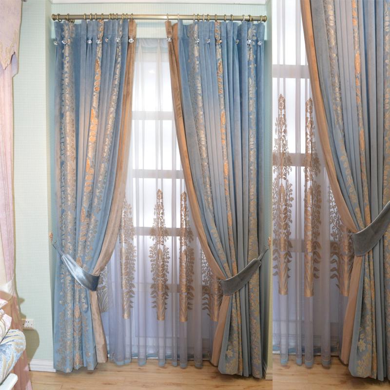 夢思園フランス式アメリカーノ刺繍のロマのカーテンの生地は青いピンクの純色の翻る窓の寝室の紗のカーテンです。