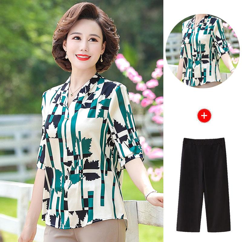 中年妈妈装夏装新款中袖上衣裤子两件套中老年女装夏季几何图套装