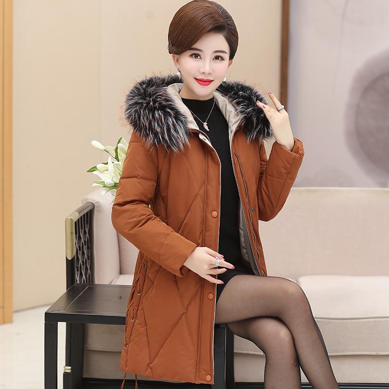 中老年女装冬装新款棉衣外套中年女士妈妈装花色修身棉服小棉袄