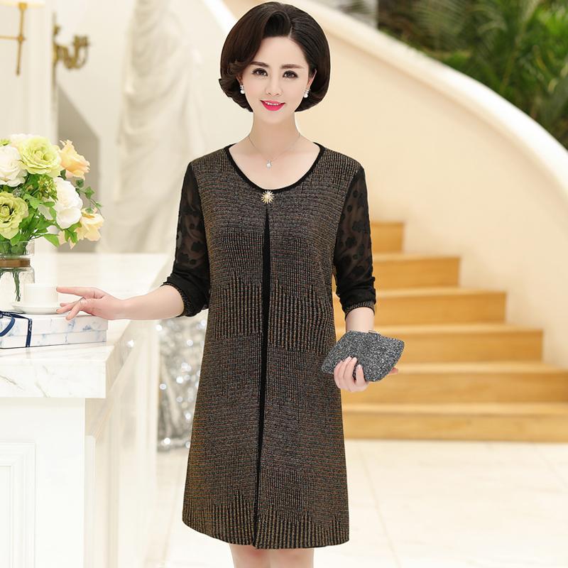 中老年女装春夏装新款裙子40-50岁中年妈妈装夏季短袖时尚连衣裙