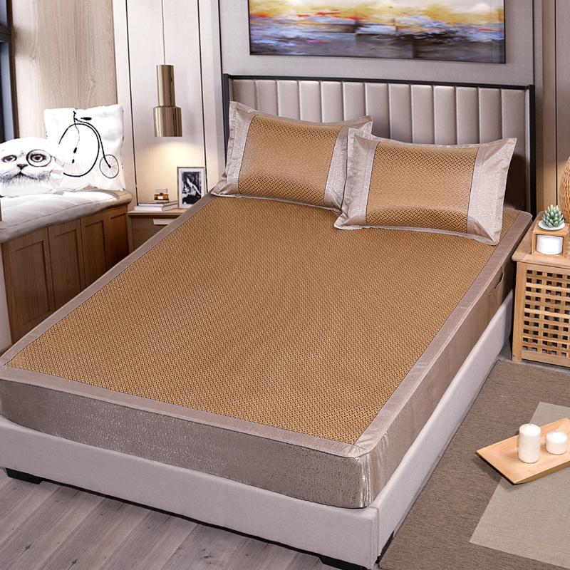 加厚藤席床笠款可折叠凉席三件套空调席子双人1.5m1.8米床2.0m2米,可领取20元天猫优惠券
