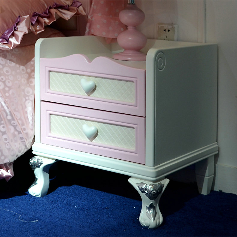 Girls bedside table childrens Korean pastoral paint lamp cabinet pink soft package bedside table