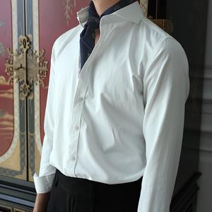欧式时尚休闲绅士大领白色免烫经典复古长袖舒适衬衫男士百搭衬衫