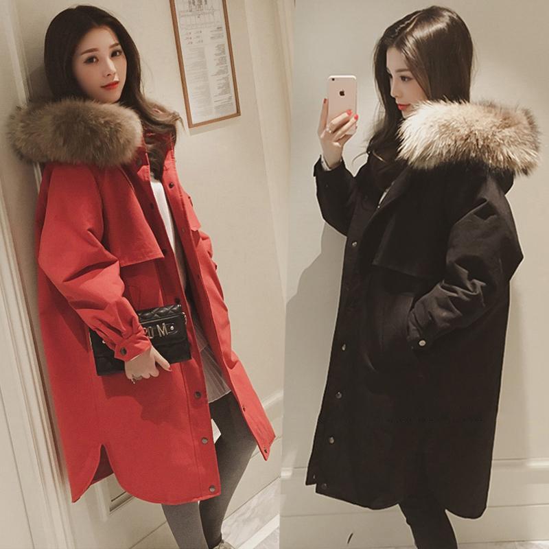 Утолщённый сохраняющий тепло хлопок одежда пальто длина ветровка 2017 осенью и зимой новый 200 цзин, единица измерения веса жир mm женский большой размер