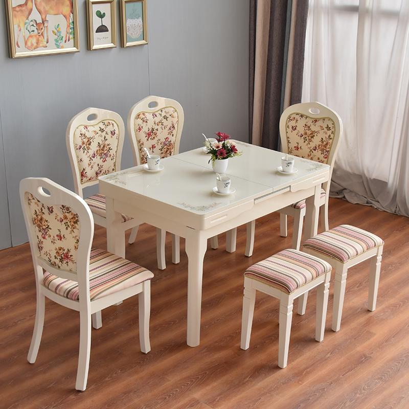 792.00元包邮网红餐桌椅组合现代简约小户型家用可伸缩折叠实木长方形吃饭桌子