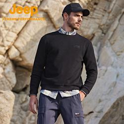 Jeep吉普秋冬长袖卫衣男士简约刺绣针织衫户外运动上衣不起球男装