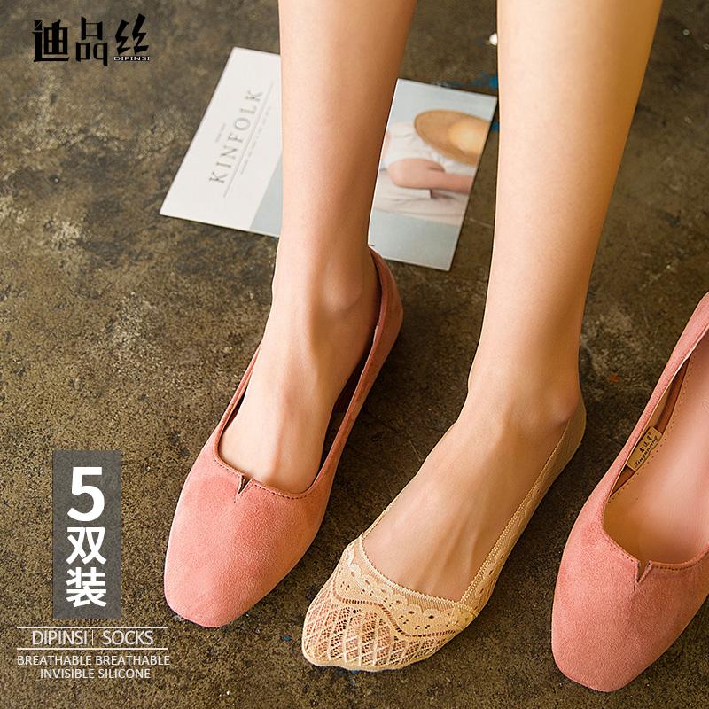 夏季蕾丝小船袜子女隐形丝袜短硅胶防滑薄花边镂空性感棉袜底袜套
