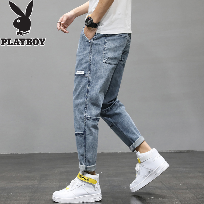 Playboy jeans, men's fashion, Korean version, all kinds of loose legged pants, fashion brand casual pants, pants, 9-point pants