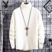 Playboy high neck sweater men's autumn and winter Korean Trend loose Plush knitting sweater thick men's wear