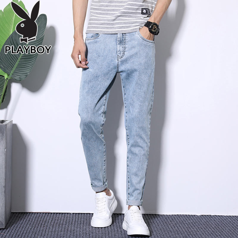 Playboy summer thin jeans men's straight loose trousers fashion brand casual nine point pants Korean Trend