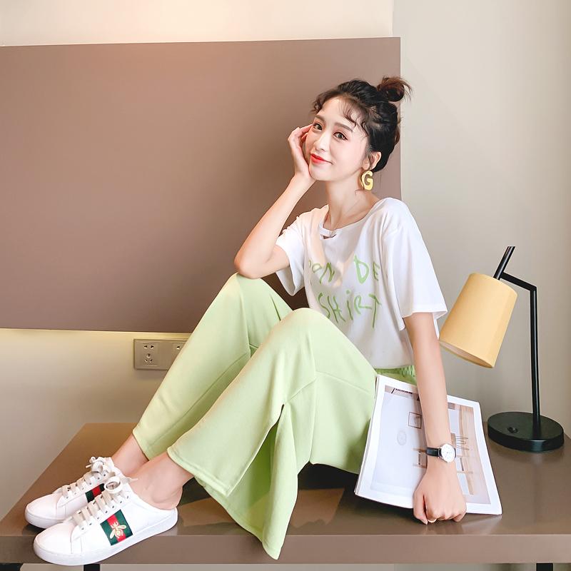 不包邮两件套休闲运动时尚套装女网红抹茶绿宽松洋气很仙的夏季2019新款