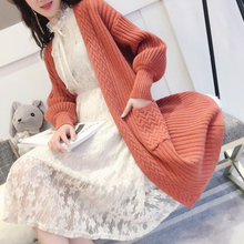 Thickened sweater jacket, cardigan, Korean version of medium and Long-style knitted sweater, spring and autumn, 2018 autumn and winter new style