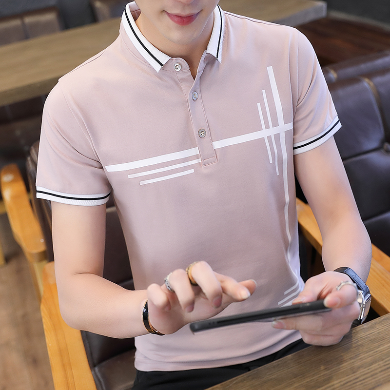 Pink  Real Shot  Spot Men's T-shirt Short Sleeve Lapel Slim-Fit Printed Young Handsome on Clothes Cotton
