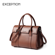 Exception women's bag 2019 new top layer cowhide business style OL new Kelly bag one shoulder slant straddle handbag
