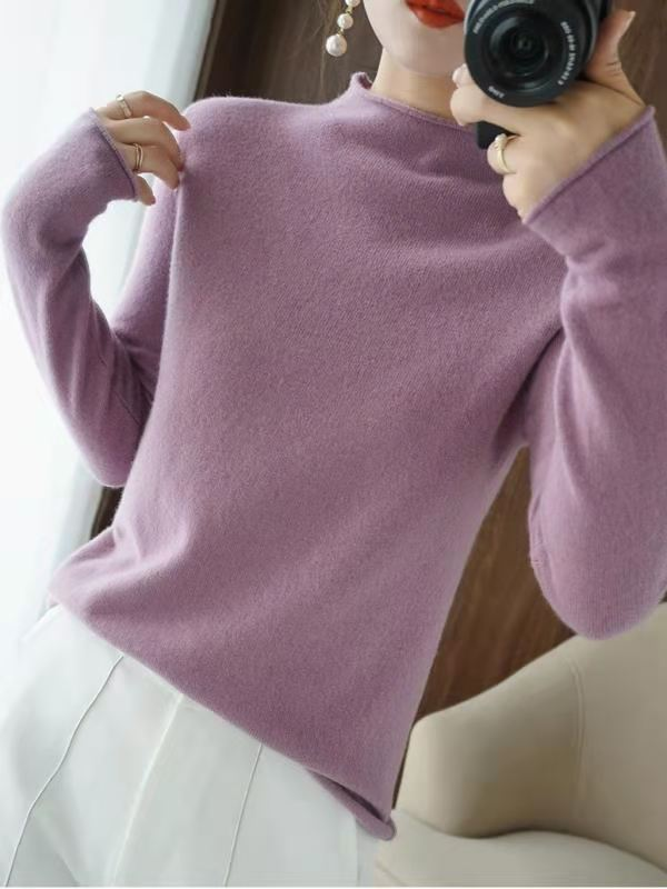 New half high neck slim sweater womens Pullover T-shirt non cashmere with long sleeve backing