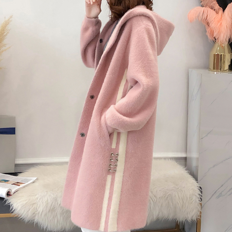 Loose sweater cardigan imitation gold mink cashmere coat womens medium length thickened knitted coat autumn winter 2020 NEW