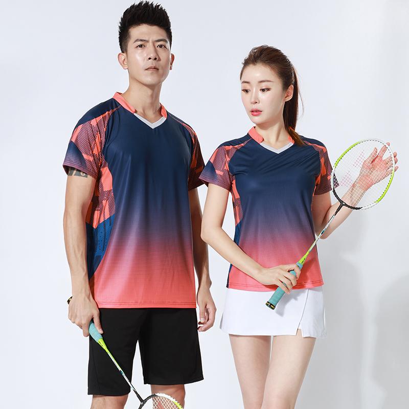 2020夏季新款韩版羽毛球服套装男女短袖速干运动服大码网球服定制