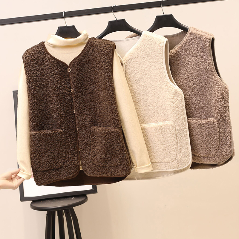 Lambs Plush vest women's 2019 winter short Korean fur all in one loose waistcoat, waistcoat and shoulder coat