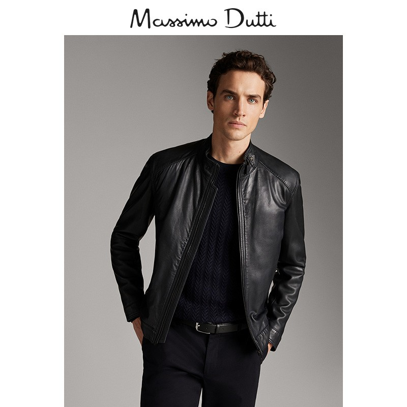 Massimo dutti men's early spring new navy seam nappa leather jacket slim fit coat 0331424400