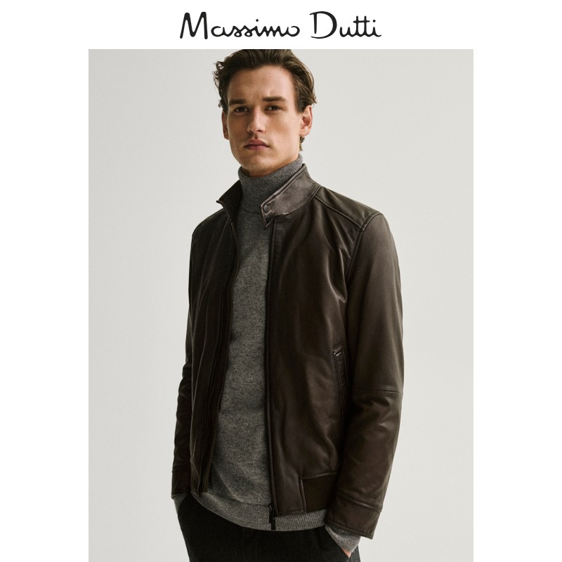 Massimo Dutti men's clothing mall the same style men's leather fashion jacket jacket 03333999700