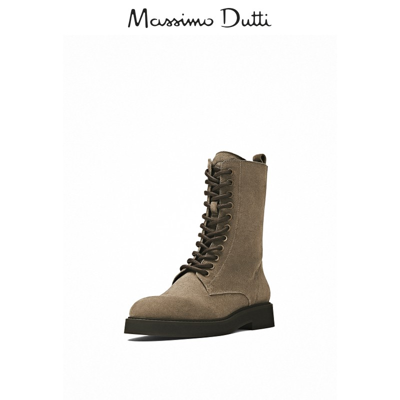 Massimo Dutti women's shoes 2020 fall new style taupe suede leather lace-up ankle boots ladies fashion Martin boots 11156650712