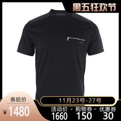 正品Prada/普拉达男装新款棉质拉链口袋男士休闲短袖T恤