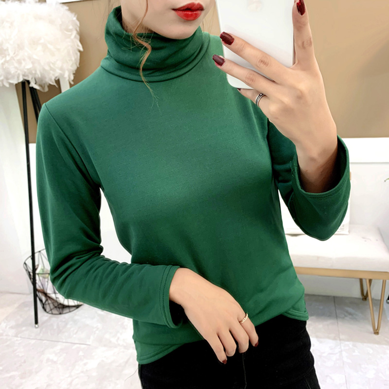 . womens high necked bottomed sweater autumn and winter plus Plush inner layer with thin velvet warm clothes large autumn clothes pile collar long sleeve T-shirt for women