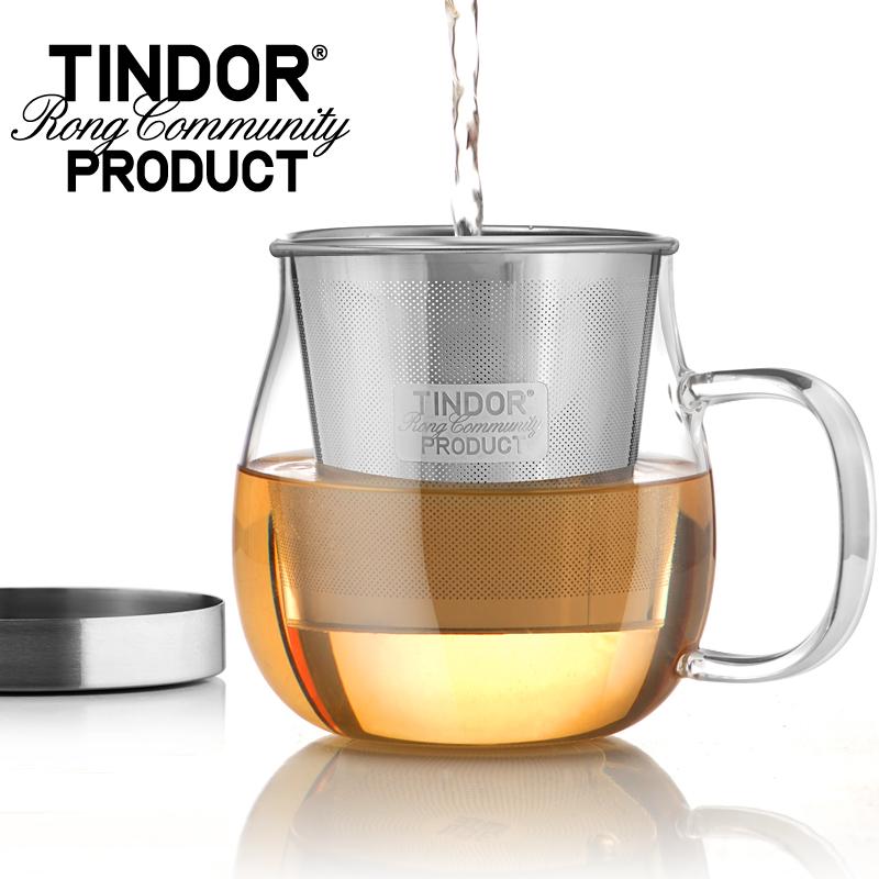 田代 耐熱玻璃杯 茶杯水杯 不鏽鋼透明泡茶帶蓋過濾花茶杯杯子