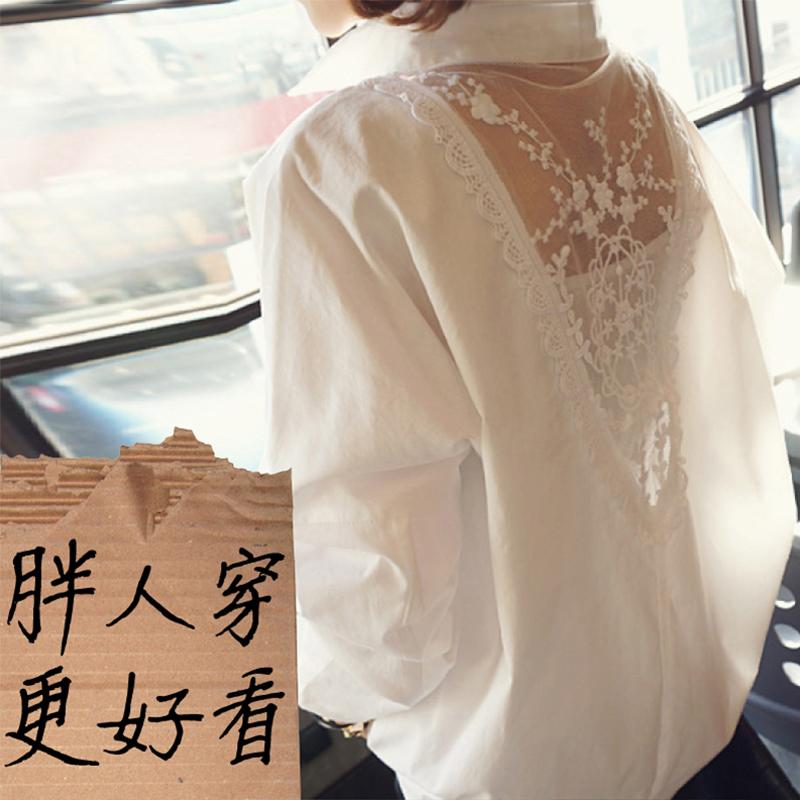 白衬衫女长袖2019年秋装新款雪纺时尚上衣洋气设计感小众休闲蕾丝