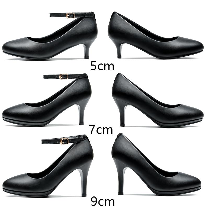 防水台高跟鞋5cm7细跟春秋黑色皮鞋