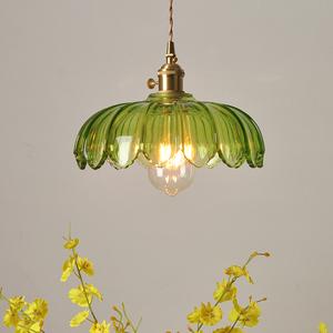 老上海民国怀旧艺术灯具民宿餐厅吧台咖啡厅绿色玻璃全铜复古吊灯