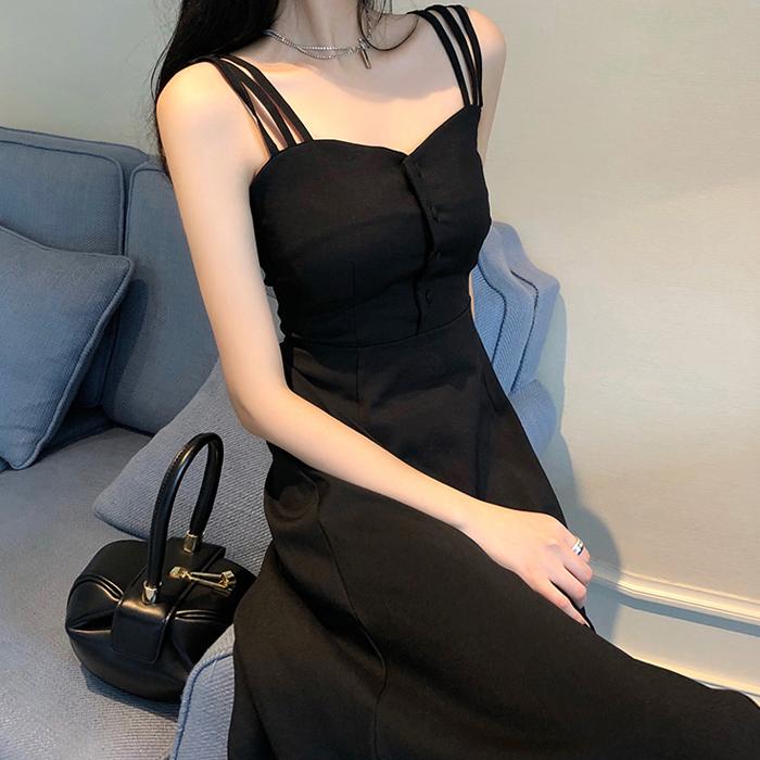 吊带连衣裙夏2019新款超仙性感气质显瘦法式复古桔梗过膝收腰长裙