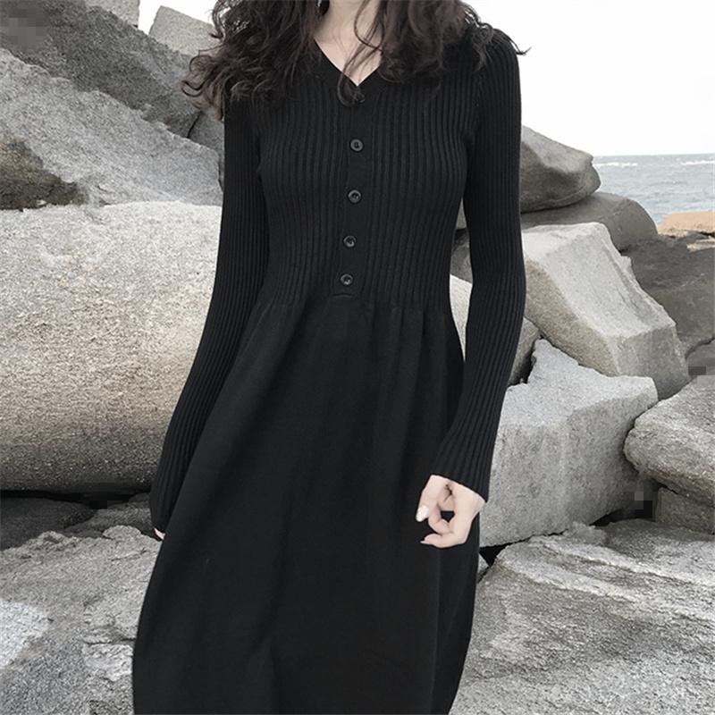 秋冬新款V领气质黑色针织连衣裙长款过膝毛衣裙打底内搭修身长裙
